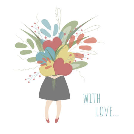 A girl is holding a big bouquet of colorful hearts and  flowers. Vector illustration in white, res, blue, yellow and green colors  with romantic text With Lova! Perfect for greeting cards, posters.