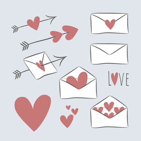 Set of cute hand drawn envelopes, hearts, arrows in white, red and black colors. Perfect for cards, scrap booking, stickers and other design projects. Vector illustration. 向量圖像