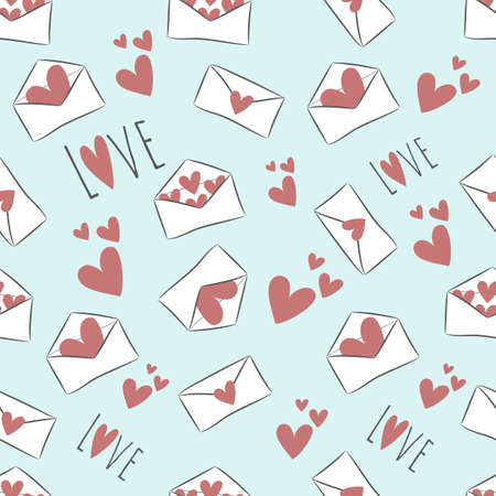 Seamless pattern with hand drawn red hearts and white envelopes on light blue background. Saved in swatch panel. Vector.