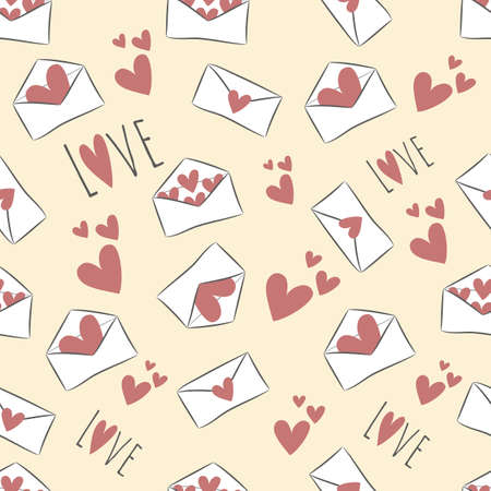 Seamless pattern with hand drawn red hearts and white envelopes on yellow background. Saved in swatch panel. Vector.