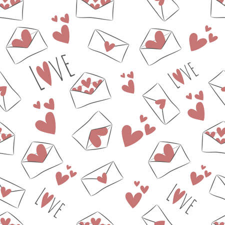 Seamless pattern with hand drawn red hearts and white envelopes on transparent background. Saved in swatch panel. Vector. 向量圖像