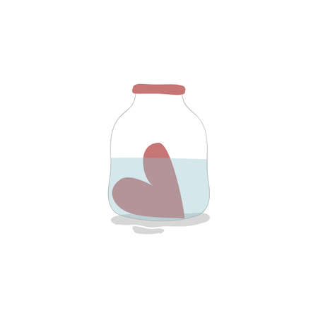 Vector illustration with cute red heart in the jar with water on white background. Romantic and funny hand drawn illustration perfect for cards, poster, scrap booking or banners. Vector.