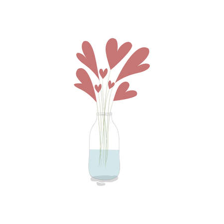 Vector illustration with cute red hearts and branches in the jar with water on white background. Romantic hand drawn illustration perfect for cards, poster, scrapbooking or banners. Vector. Eps10