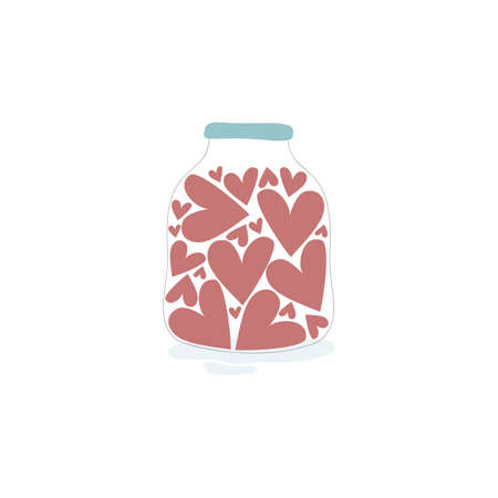 Vector illustration with cute red hearts  in the jar on white background. Romantic hand drawn illustration perfect for cards, poster, scrap booking or banners. Vector.