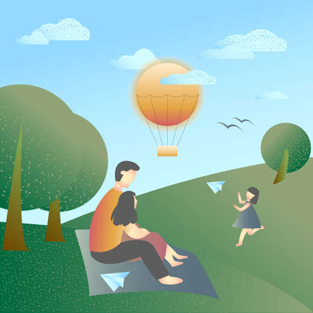 Vector  Illustration with green landscape, blue sky, happy family rest on the grass and a little girl with flying paper plane. Sunny day. Flat design.  Retro stile.