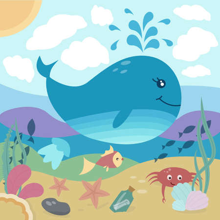 Bright illustration of underwater life: whale, fish, starfish, crab, jellyfish, seaweed. Vector Illustration. Perfect for cards, whallart, poster and other kids things.