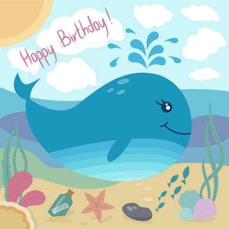 Happy birthday  greeting card with cute whale and sea life and sommer sky. Vector illustration in bright colors. Cartoon style. Standard-Bild - 122947462