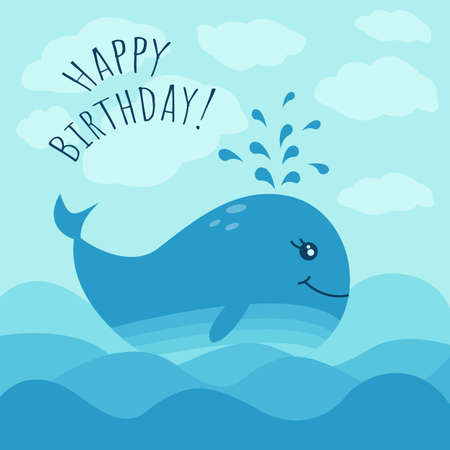 Happy birthday  greeting card with cute whale and sea waves. Vector illustration in blue colors. Cartoon style.