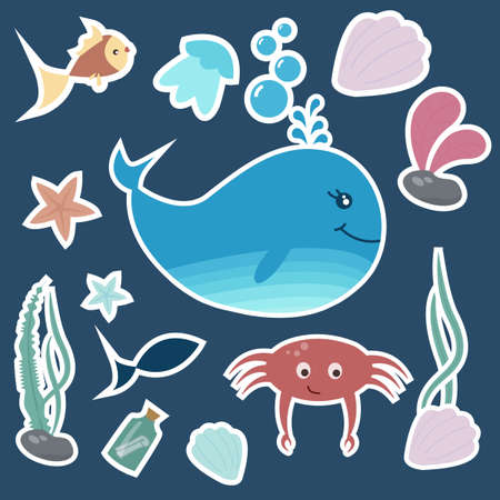 Set of colorful kids stickers. Underwater life. Vector illustration.