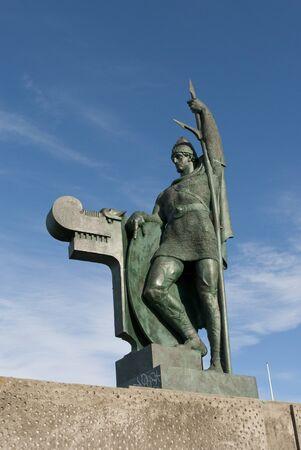 reykjavik: statue in Reykjavik, Iceland on a sunny day