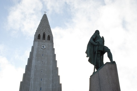 Statue of Leif Erikson in front of church in Reykjavik