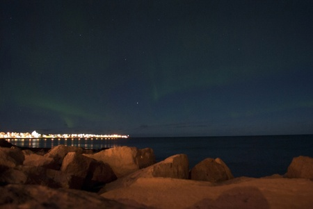 Aurora Borealis as seen from Reykjavik, Iceland