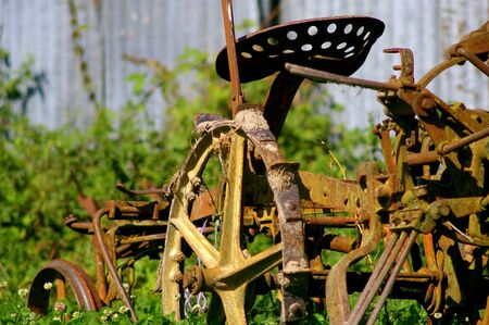 Disused farming equipment, sitting idle in the Indre region of France
