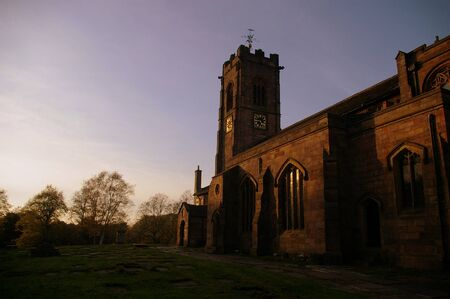 St. Mary's Church and graveyard, Prestwich, Greater Manchester, UK