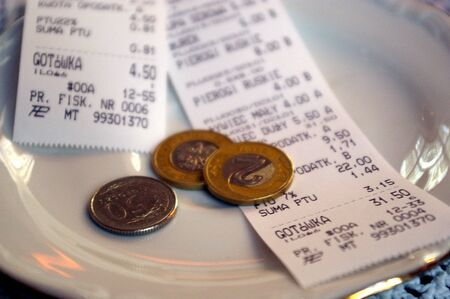 Loose change given in a Polish cafe