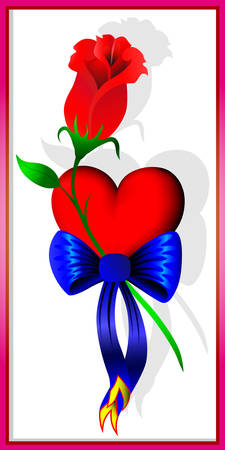 abloom: Heart, flower and bow