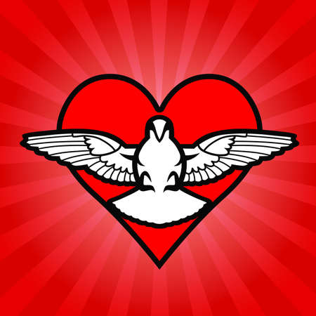 Bird, heart,  background Illustration