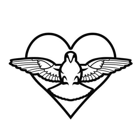 Dove, heart, tattoo Illustration