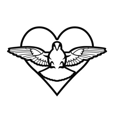 Dove, heart, tattoo Illustration