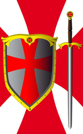 Shield and sword Stock Vector - 6292375