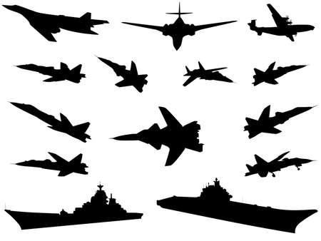 Silhouettes of military technics of different combat arms Illustration