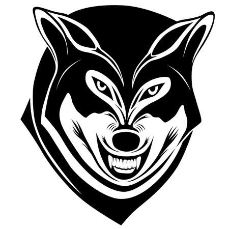 Wolf with a grin in the form of a tattoo Illustration