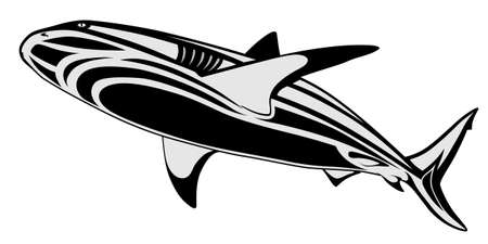 The image of a shark in the form of a tattoo Vector