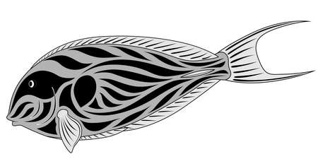Abstract Fish -surgeon in the form of a tattoo Vector