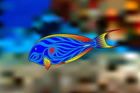 surgeon fish: Coloridos peces cirujano contra un arrecife brillante, tropical.  Vectores