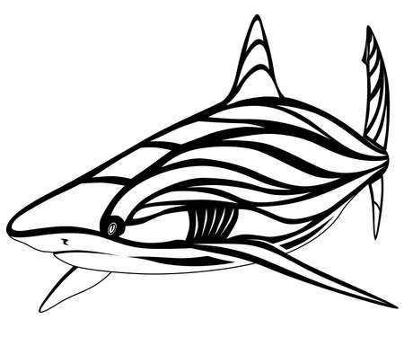 The image of a shark in the form of a tattoo Illustration