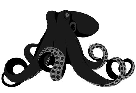 octopus represented in the form of a tattoo. Illustration