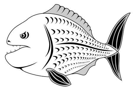 Abstract piranha in the form of a tattoo Stock Vector - 7091714