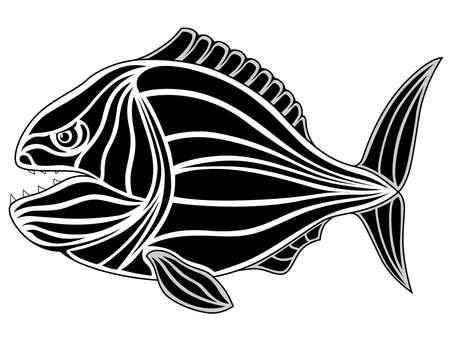 Black tribal fish tattoo - piranha Vector