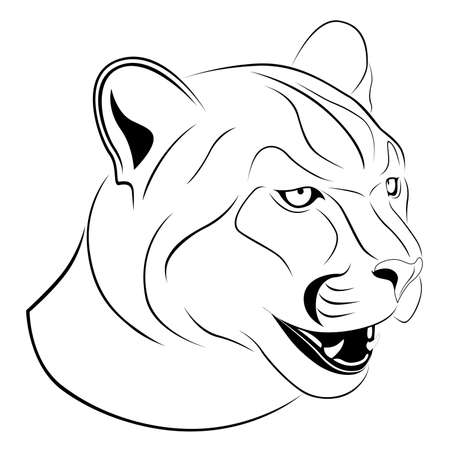 Abstract Cougar in the form of a tattoo Vector