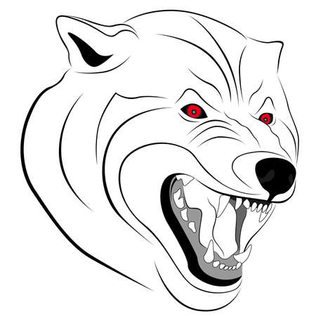 wicked: Wolf with a grin in the form of a tattoo Illustration