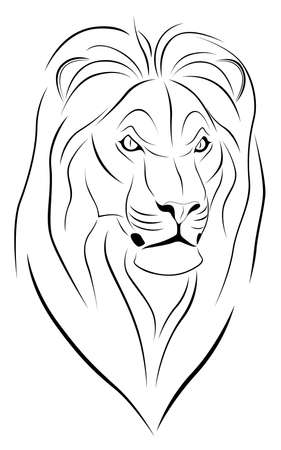 Abstract Lion in the form of a tattoo Vector