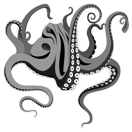 monstrous: Polpo rappresentato sotto forma di un tatuaggio. Vettoriali