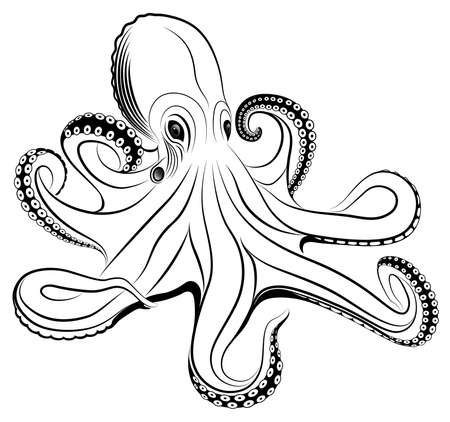 촉수: octopus represented in the form of a tattoo.