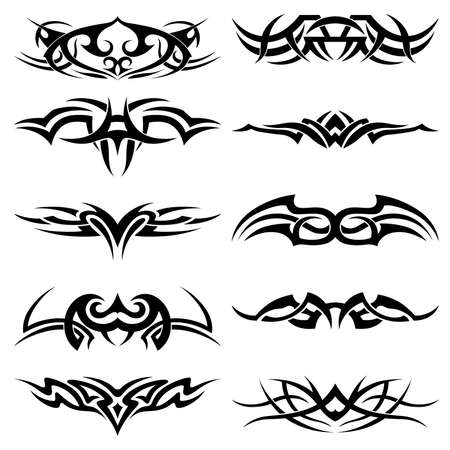 gaelic: Set of tribal tattoo including Illustration
