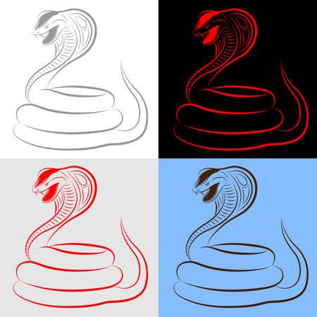 cobra: Conjunto, la colecci�n, la serpiente, la cobra  Vectores