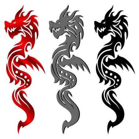 Dragon, tribal tattoo Vector
