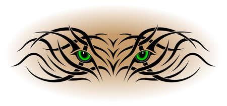 cougar: Eyes, tribal tattoo