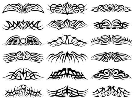 Set of tribal tattoo including Illustration