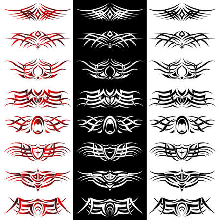 Set of tribal tattoo including Vector