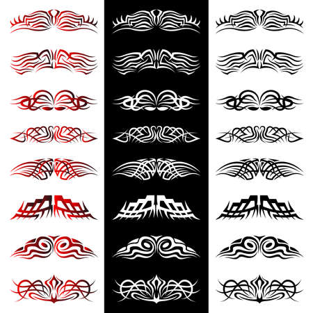 Set of tribal tattoo including Vector Illustration