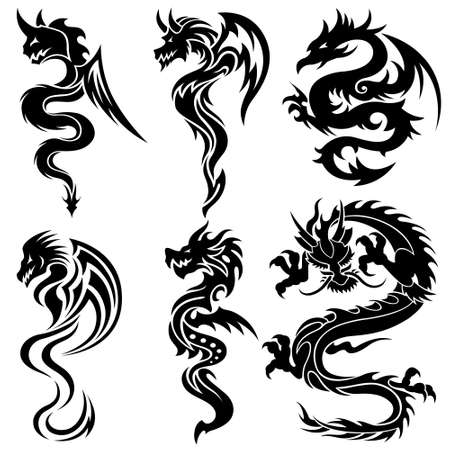 tatouage dragon: Ensemble des dragons chinois, tatouage tribal Illustration
