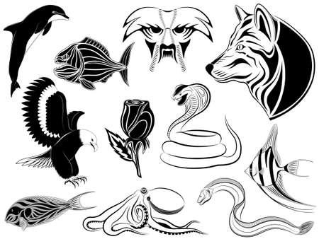 serpiente cobra: Conjunto de diversos tatuajes