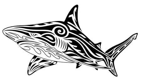 Shark, tribal tattoo Illustration
