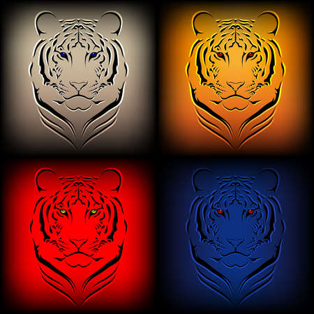 Set of vector tigers in various colors Ilustração