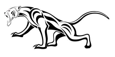 jaguar: Leopard, tatuaje tribal Vectores